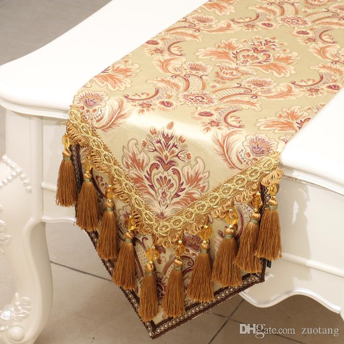 Multi Tassel Classic Pattern Luxury Table Runner Embossed Jacquard High End Dining Table Protection Pads Europe style Rectangle Table Cloth