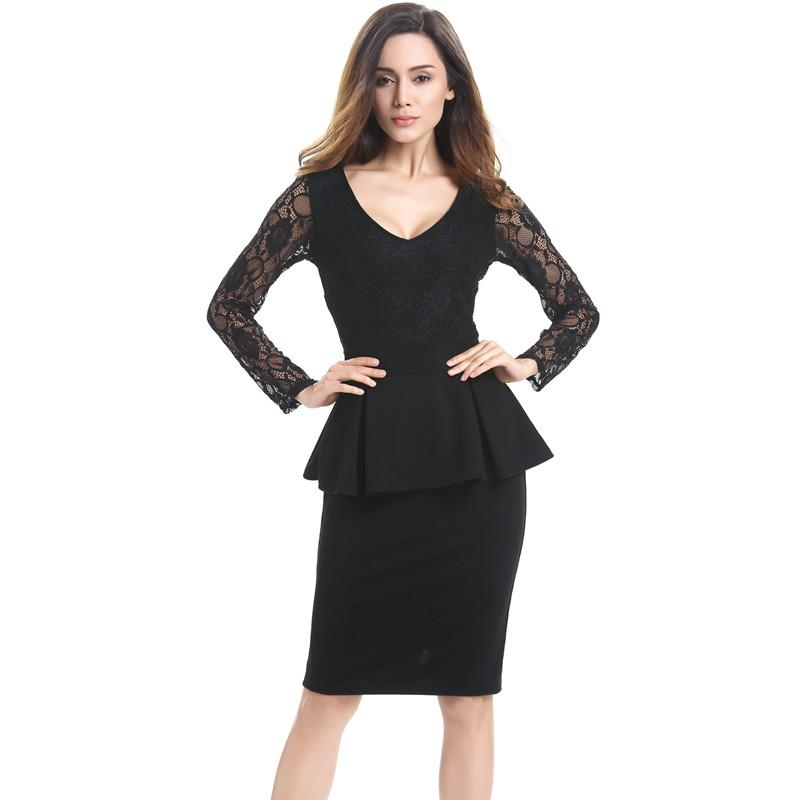 c58333122 Women Black Career Formal Lace Dresses Lotus Leaf Office Suits Slim ...