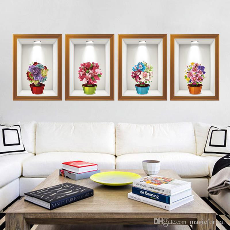 3d stere potted flowers fake frame wall stickers home decor creative