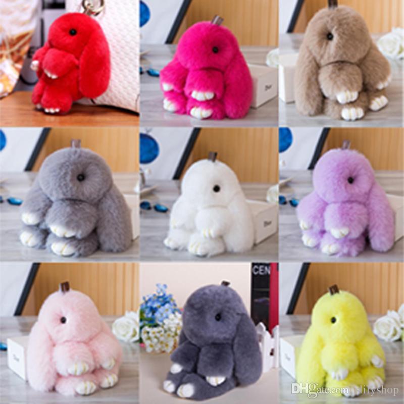 Cute Fluffy Bunny Keychain Women Trinket Rabbit Key Ring Hare Pompom Dolls Toy Car Key Holder Animal Steering-wheel Pendant