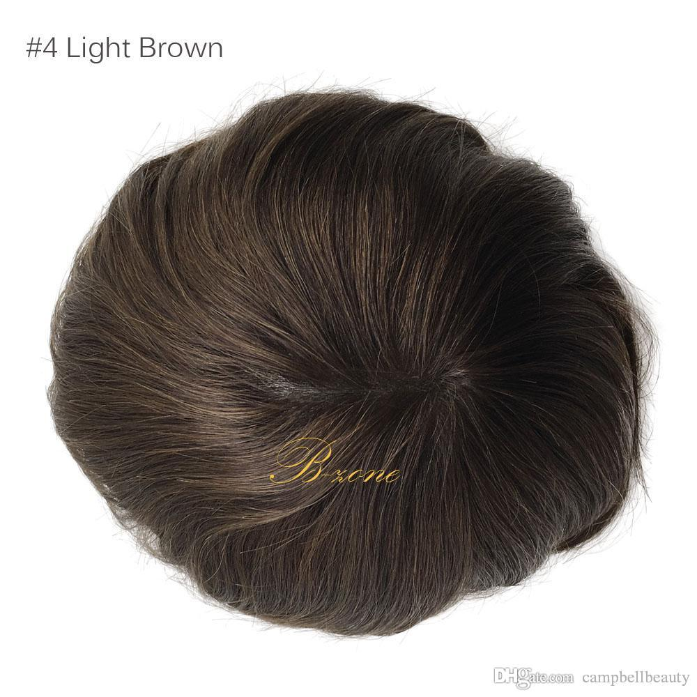 Human hair toupees Indian remy black and brown color Mono base men toupee hair replacement straight toupee for men