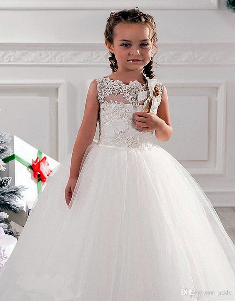 Cheap Flower Girls Dresses Tulle Lace Top Spaghetti Formal Kids Wear For Party 2017 Toddler Gowns