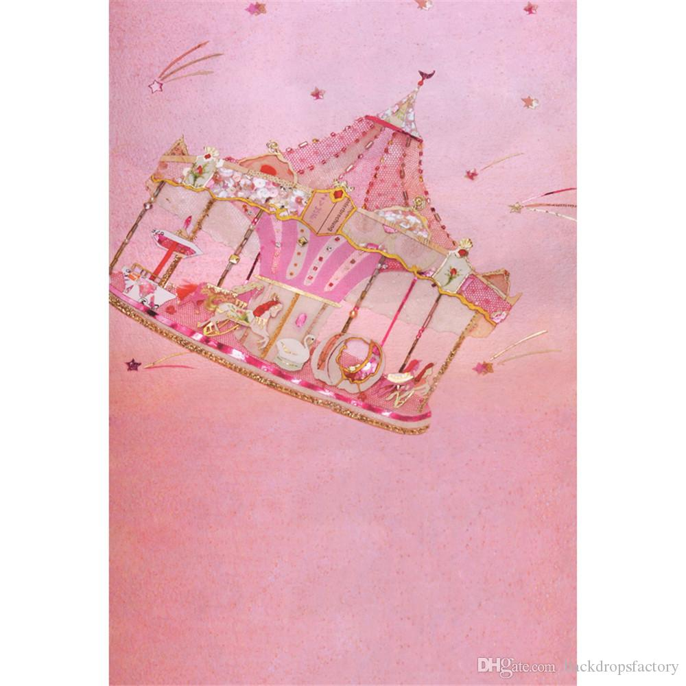 2018 Pastel Pink Carousel Photo Background For Baby Newborn Birthday Party Digital Printed Stars Princess Kids Photography Backdrops Children From