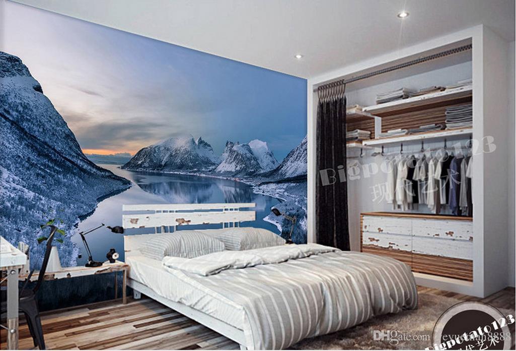 wallpaper scenery for walls Custom wallpaper non-woven Snow snow lake scenery wall photo wallpaper