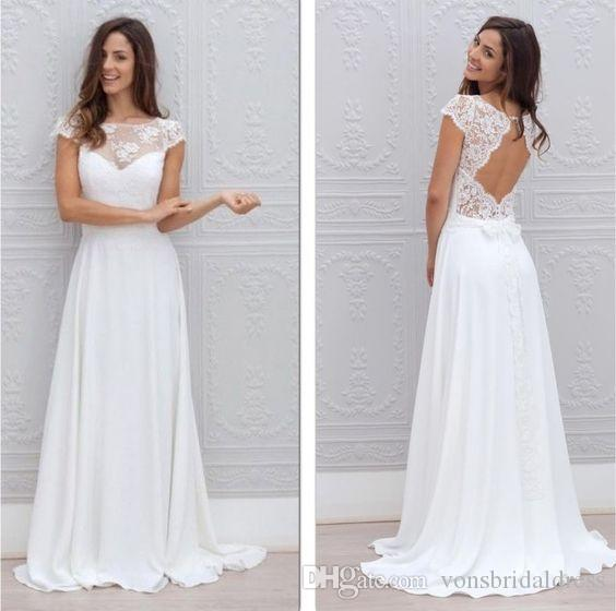 Discount Bohemian Casual Wedding Dresses Keyhole Back With Cap Sleeves Beach Bridal Gown 2017 Simple Formal Dress Affordable Lace