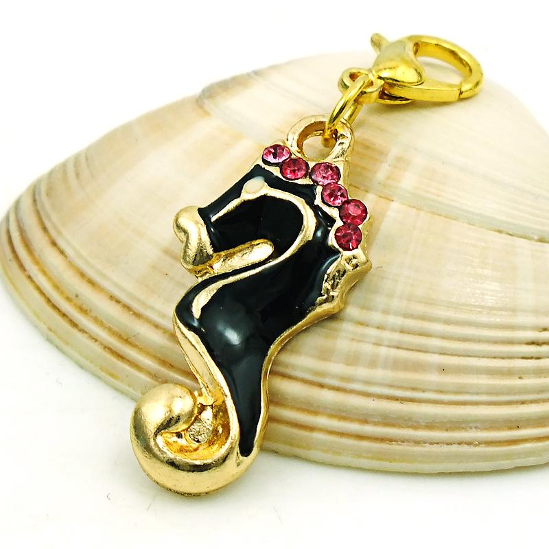 Мода животных плавающей карабинчиком подвески мотаться горный хрусталь эмаль Морской конек прелести DIY для изготовления ювелирных изделий аксессуары
