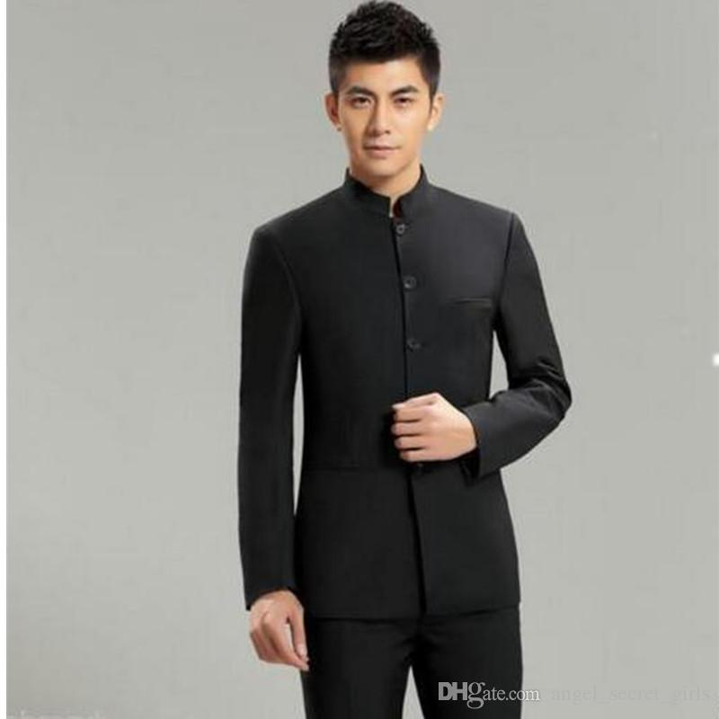 nwe2018 Men's Suits & Blazers Mao Suit Chinese Tunic Slim Fit Casual Style Formal Busines Wedding Suit