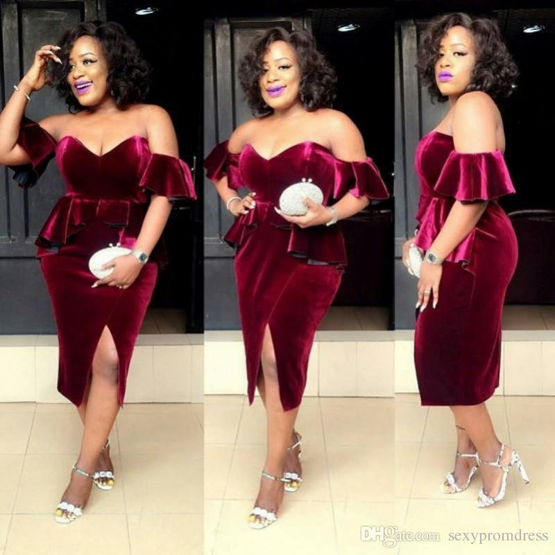 5bf8d56ffb8 Burgundy Velvet Plus Size Prom Dresses South African Sexy Off Shoulder  Evening Gowns Peplum Formal Party Vestidos Custom Made Cheap Prom Dresses  Under 200 ...