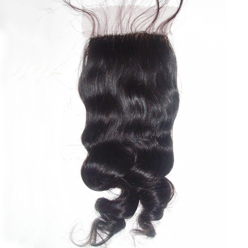 Cheap 4*4 Loose Wave Silk Base Closure Baby Hair Peruvian Brazilian Indian Malaysian Virgin Human Hair Natural Color Dyeable 130% Density