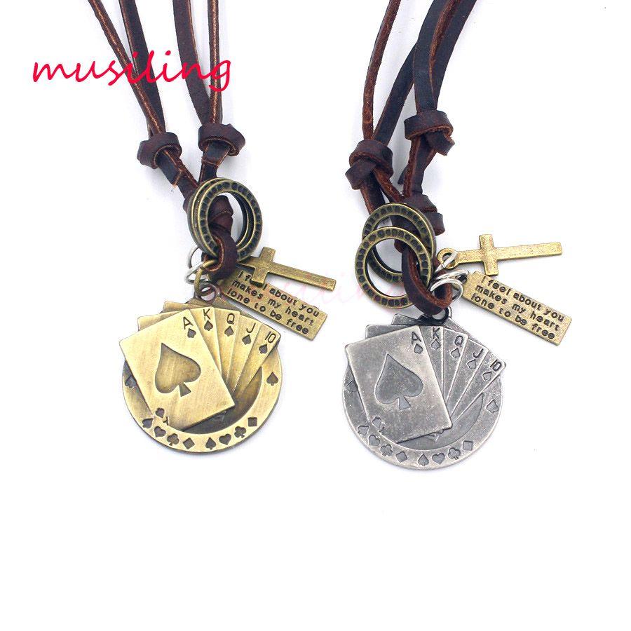 Ciondolo gioielli in pelle Collana GIOCATTOLI Accessori Pendenti in metallo Amuleto Amuleto Donna Decorazioni uomo Regali 10 pezzi / lotto
