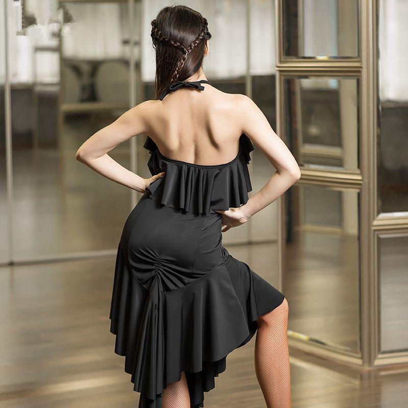 NEW black Latin Dance Dress Sexy backless adult Sasa costume ballroom Tango Rumba Samba competition for Latin acrobatics clothing
