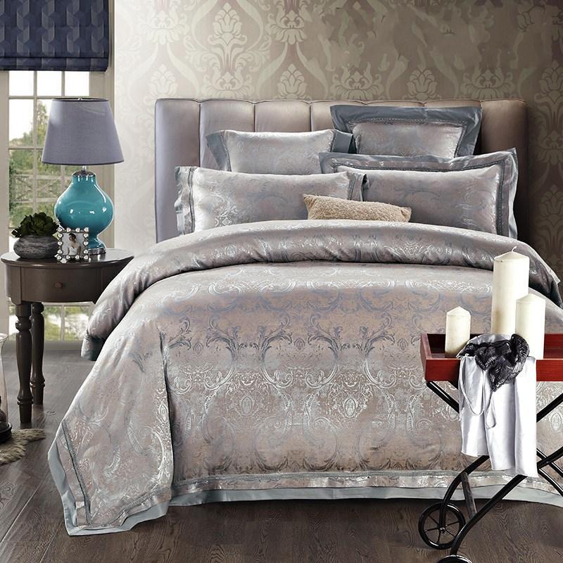 Branco Jacquard Cetim Casamento Conjunto de Cama Rei Rainha 4/Luxury Quilt / Tampa de edredão Cama cama de linho de cama de algodão