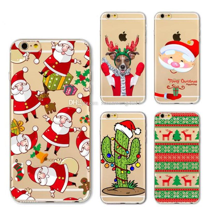 christmas phone cases for iphone7 iphone 7 6 6s plus 5 5s soft tpu protective cover case santa claus design defender case gift case gsz373 uncommon cell