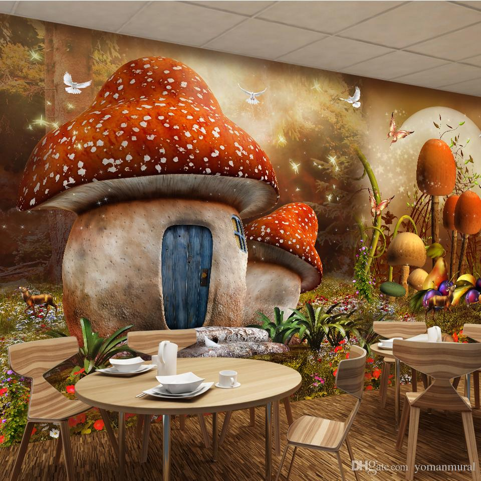 Custom 3D Mural Wallpaper Cartoon Fairy Tale World Mushroom House Butterfly  Flower Photo Background Childrenu0027s Room Wallpaper 3d