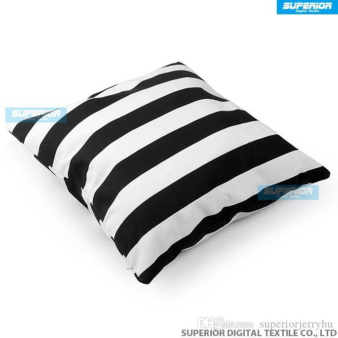 200 adet / grup Dekoratif Pamuk Tuval Kare Atmak Yastık Minder Örtüsü El Yapımı Siyah ve Beyaz Şerit Toss Yastık ile Gizli Fermuar