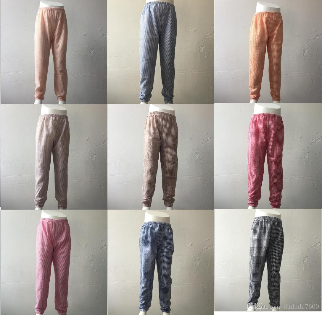 casual style baby kids loose leisure pants relaxed dark color stripe seersucker girls long pants fall beach pants