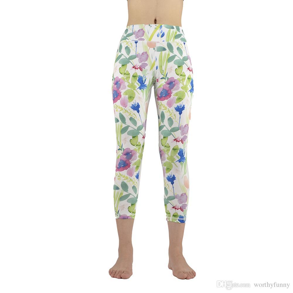 Yoga Pantolon 3D Baskılı Spor Tayt Koşu Pantolon Kadınlar Için Çalışan Tayt Spor Salonu Giyim Yedinci Uzunluk GL-039