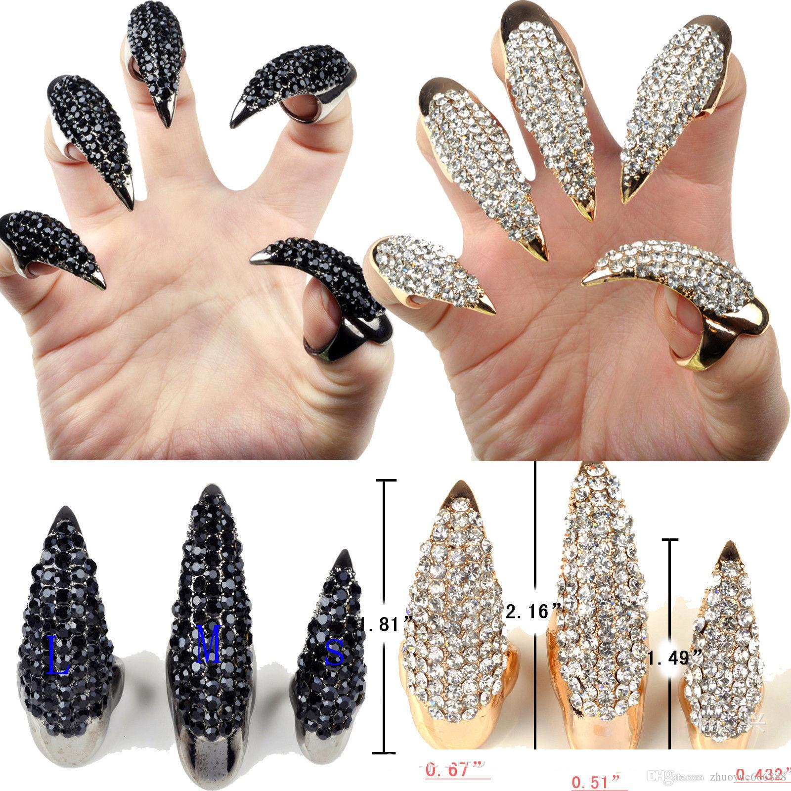2018 Gold Black Full Of Diamond Crystal Exaggerated Nails Eagle Claw ...