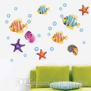 Lovely Under The Sea Wall Decals Ocean Friends Walls Stickers For Children Room Decoration Mural Painting Smooth Wallpaper Practical 2 6sj4