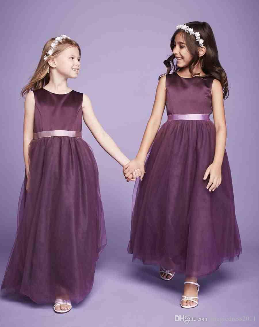 litter misses dresses 2019 flower girls dresses kids formal wear purple tulle skirts formal dresses for wedding