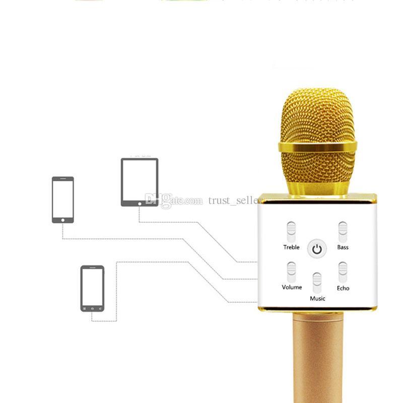Q7 bluetooth microfone portátil handheld sem fio ktv karaoke jogador altifalante com microfone speaker para iphone 7 plus samsung s7 dhl