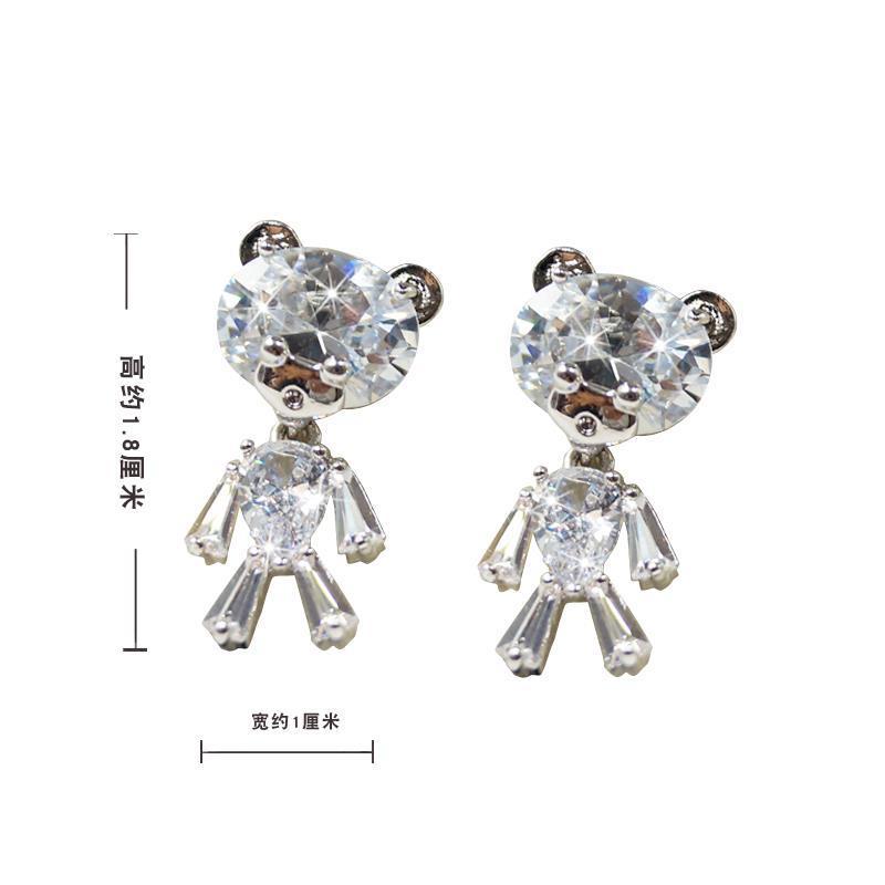 Woman headdress hair Colorful plaid jewelry female temperament Earrings Ear Clip Earrings Sterling Silver Ear Japan Korea anti allergy E00