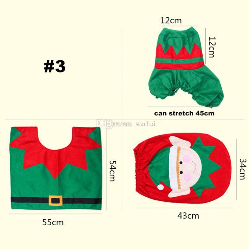 변기 커버 크리스마스 장식 3 조각 / 세트 산타 엘크 엘프 변기 커버 러그 호텔 욕실 세트 Xmas 선물 용품 WX9-91