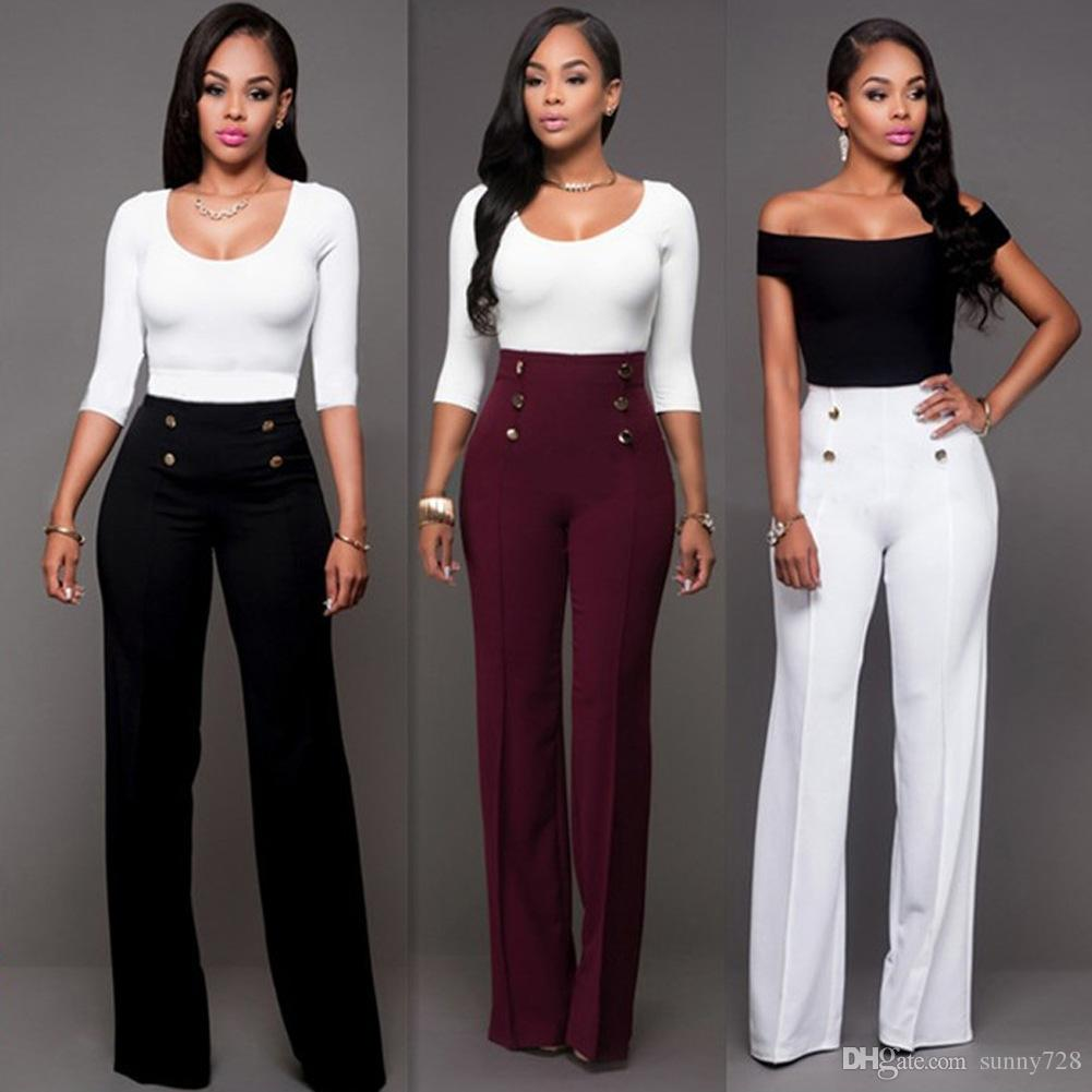 Acquista Trendy Pantaloni Moda Bootcut Lunghi Vita Le A 2017 Donne fyY7gb6
