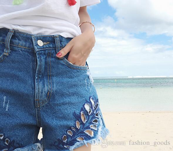 Best gift New tassel wild straight denim corners denim shorts female WS011 Women's Shorts