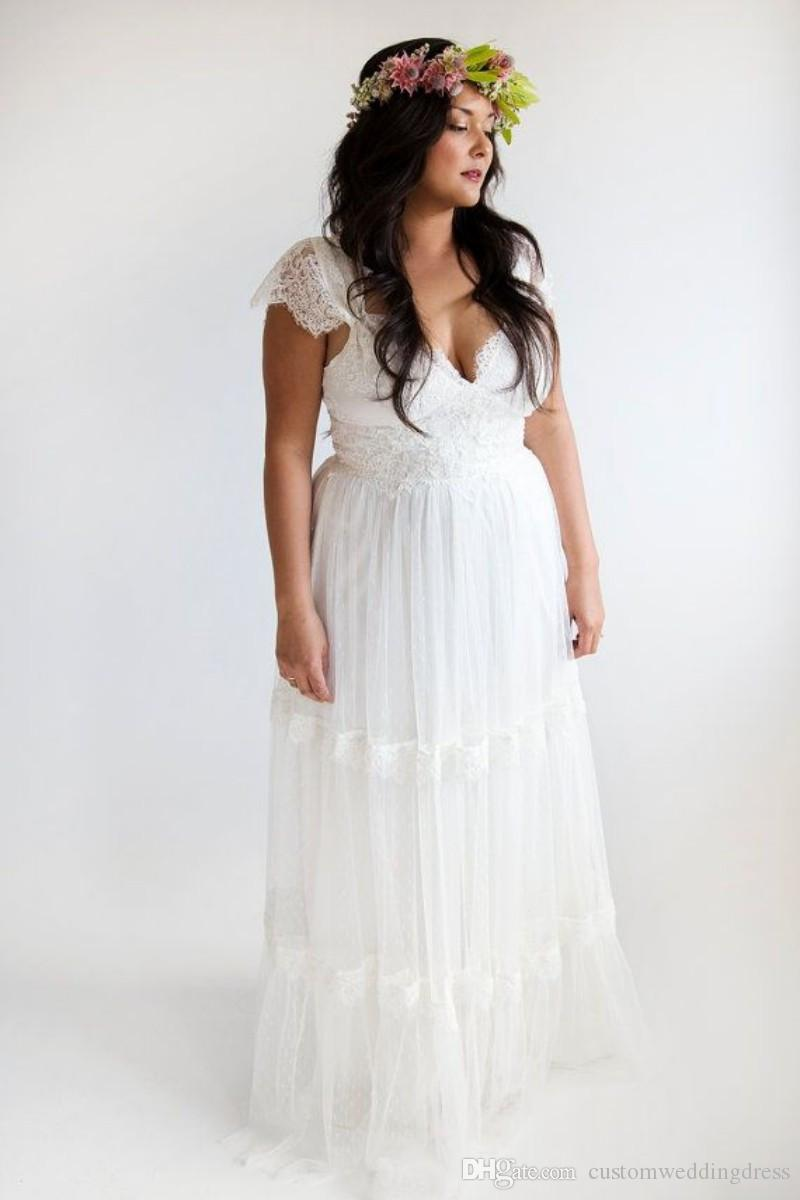 Vestido de noiva vintage 2018 hippie wedding dresses beach for Affordable boho wedding dresses