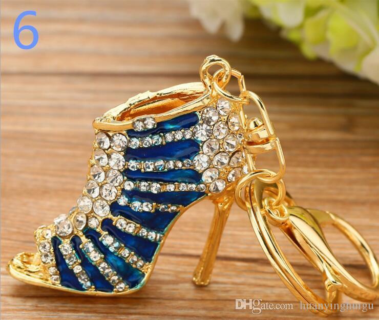 2017 Nouveau Creative Haute Talon Chaussures Porte-clés Strass Porte-clés Femmes Fille Sac Charme Porte-clés Pendentif Bijoux YCK12