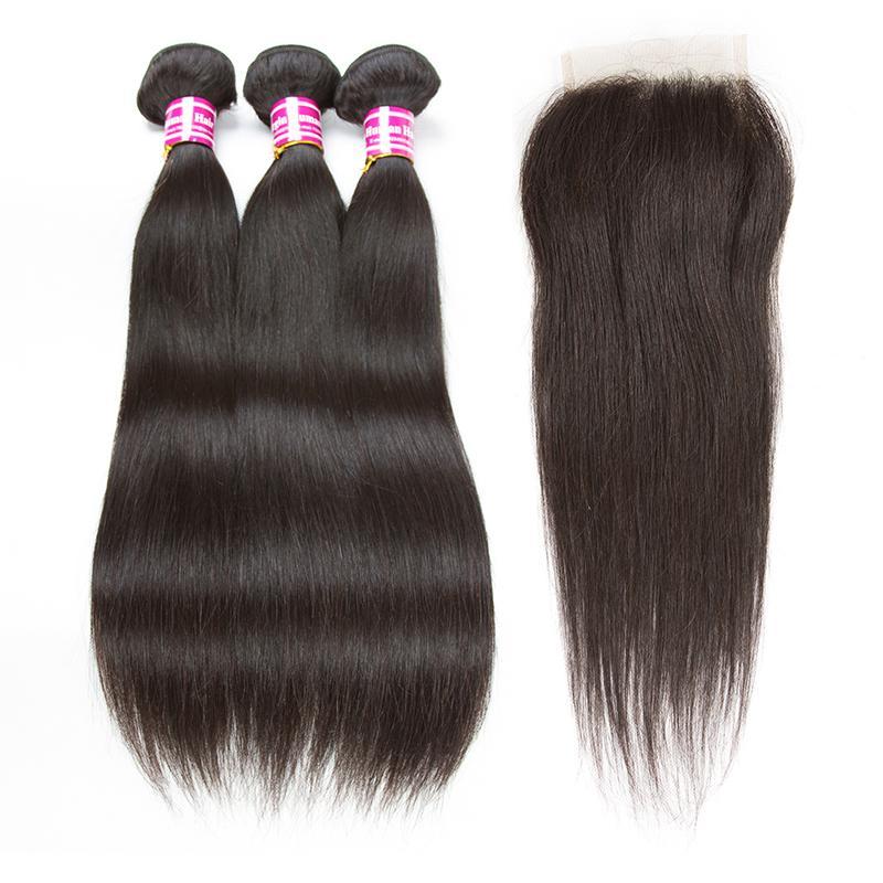 2018 heißer Verkauf brasilianisches reines Haar 3 Bundles Körperwelle straigh mit mittleren freien Teil 4x4 Spitze Schließung Menschenhaar Webart 10-26 Zoll