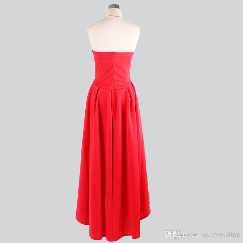 395 Satin High Low Evening Dress Red 2017 Vestido longo New Evening Gowns For Party Elegant