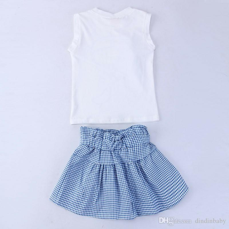 2017 Brand New Summer Children Fashion Clothes Girls Clothing Sets Kids Clothing Sleeveless White T-shirt +pant Girls Suit