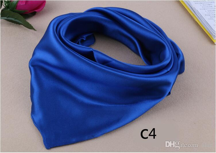 60 * 60 centímetros novo 23 puro cores de cetim pequeno lenço de seda cores sólidas pequeno lenço de imitação lindo lenço mulheres negócios traje mix cores nww7