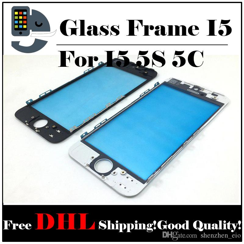 Front Touch Screen Panel Outer Glass Lens with Cold Press Middle Frame Bezel Screen for iPhone 5 5s