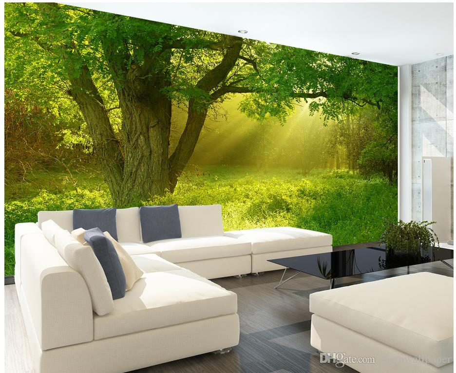 Grosshandel New Custom 3d Schone Stereo Natur Dschungel Tv Wandbild