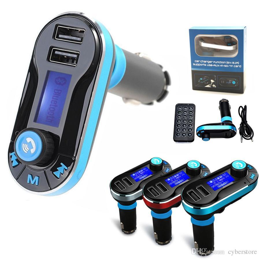 المزدوج USB شاحن سيارة FM BT66 الارسال بلوتوث حر اليدين LCD MP3 الهاتف راديو كيت محول شاحن المحمول الذكية