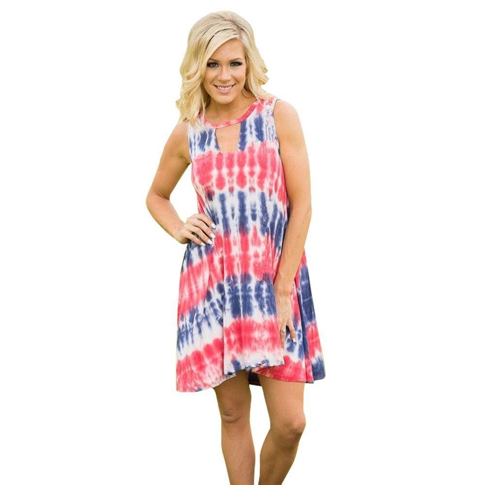 ca56e7ba03913 America Hot sale Women dress Print A-Line Dress Sexy Sleeveless Mini Casual  Dresses