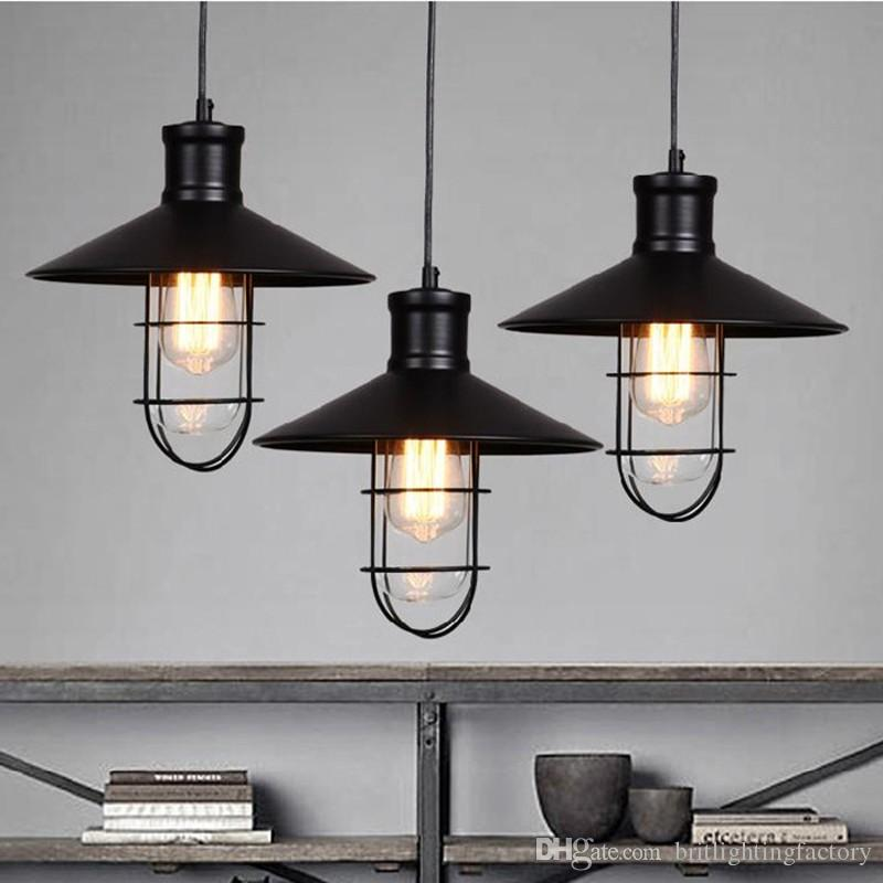 Black rustic pendant lights vintage industrial pendant lamp led black rustic pendant lights vintage industrial pendant lamp led pendant light birdcage lamps warehouse kitchen corridor bar study lighting multi light mozeypictures Image collections
