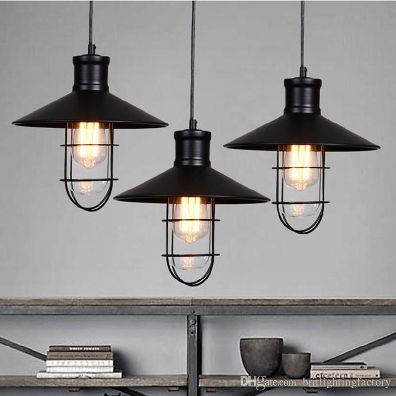 Compre Negro Luces Colgantes Rústicas Lámpara Colgante Industrial De ...