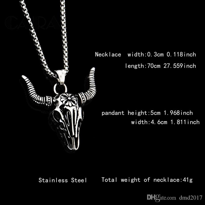 CARA NEW IndianTribe Bull Skull Head Stainless Steel Pendant Casting For Men Skull Necklace Cow skull mens chic Jewelry CAGF0319