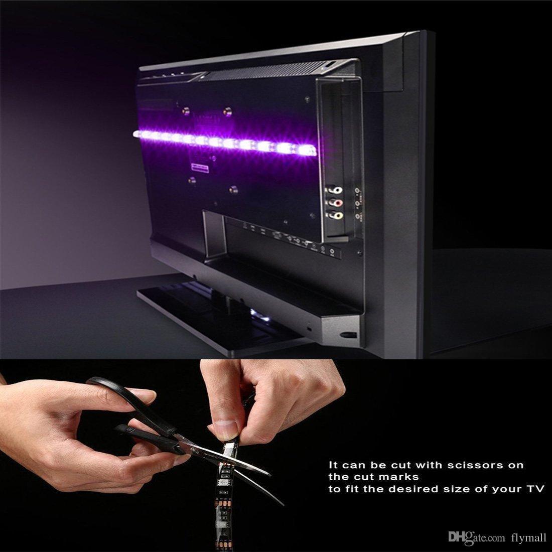Wasserdichte flexible 5050 RGB USB LED Streifen Licht Hintergrundbeleuchtung mit Fernbedienung für HDTV-Flachbildfernseher Desktop-PC Hintergrundbeleuchtung
