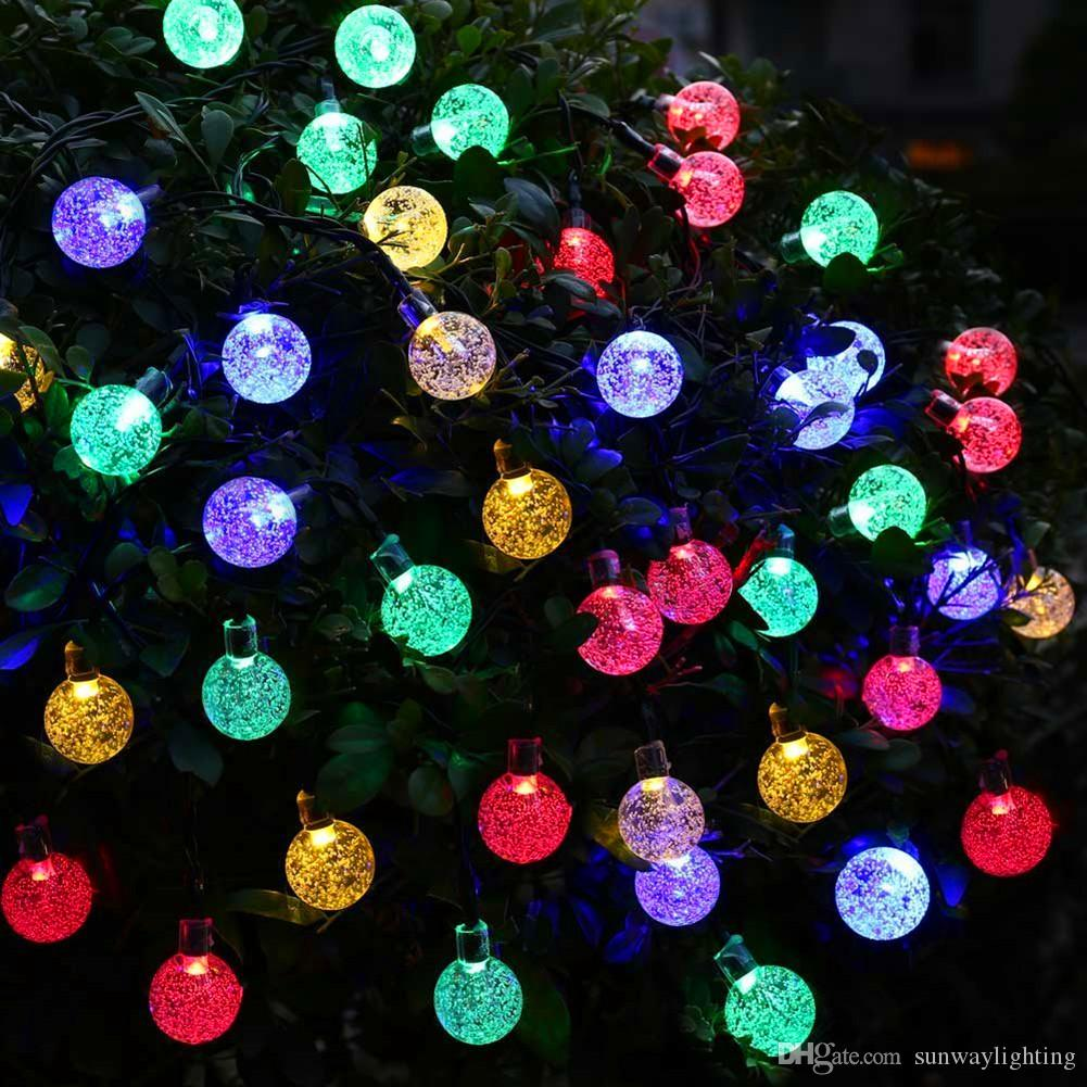 online cheap solar powered christmas tree decor waterproof 6m 30 leds crystal bubble ball light wedding new year holiday fairy lamp string by sunwaylighting - Solar Christmas Tree