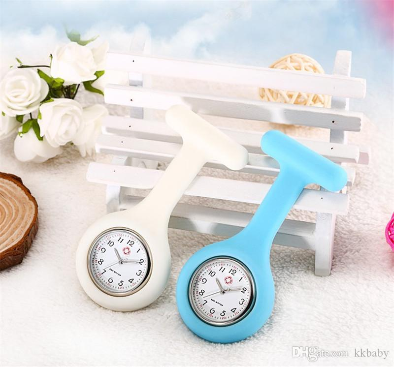 Nurse Medical Silicon Silicone Watch Clip Pocket Watches With Pin Doctor Watch Brooch Fob Tunic Pocket Watch Silicone Cover Nurse Watches