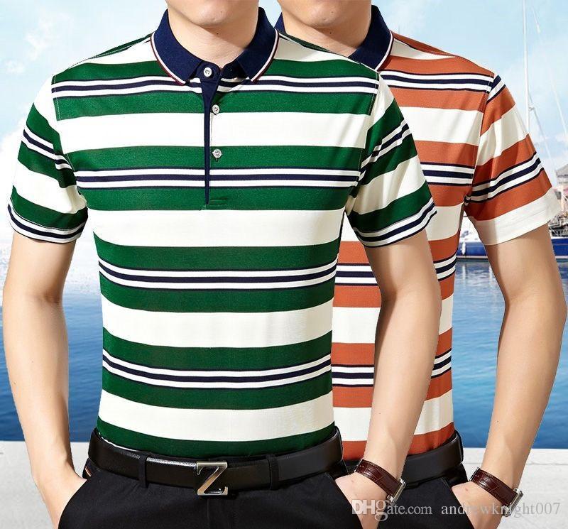 Polos Men Striped 50 52 54 사이즈 패션 Camisa 폴로 커튼 버튼 목걸이 브랜드 Camiseta Masculina Fit