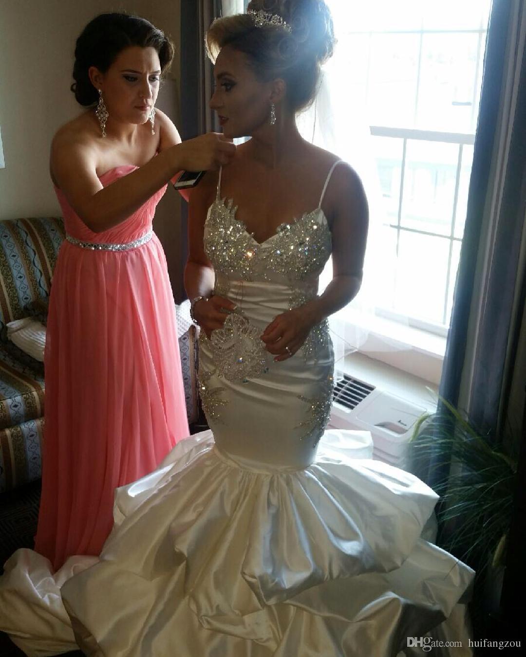Sexy Backless Mermaid Brautkleider Applikationen Kristalle Perle Brautkleider Spaghetti Ausschnitt Sweep Length Hochzeitskleid