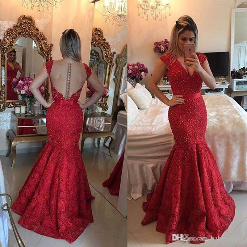 1047584668 2k17 Burgundy Sexy See Through Back Lace Evening Dress Vestido Vermelho  Longo V-neck Mermaid Bow Ribbon Arabic Prom Dresses with Pearls