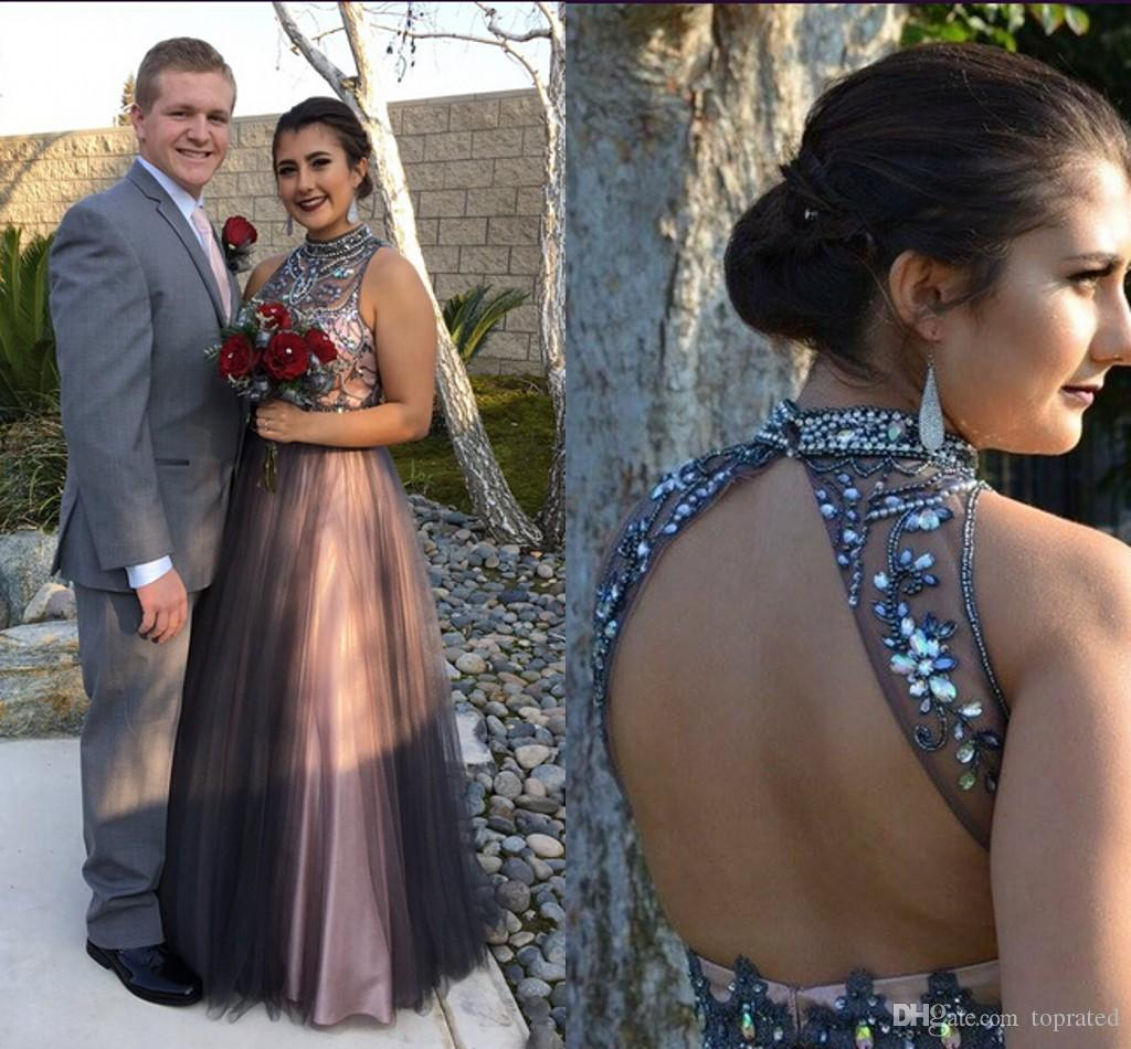 heavily beading crystals high neck prom dresses sleeveless floor