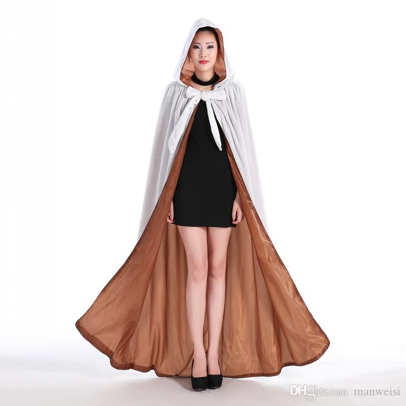 Cheap White Fur Hooded Cloaks Winter Wedding Capes Wicca Robe Warm Christmas Hallowmas Floor Length Long Fur Bridal Wraps